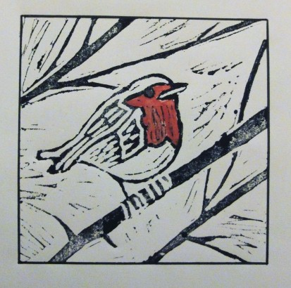 Lino cut Robin