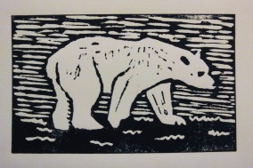Lino cut Polar Bear