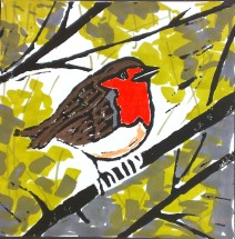 The Christmas Robin, updated, lino cut and pens